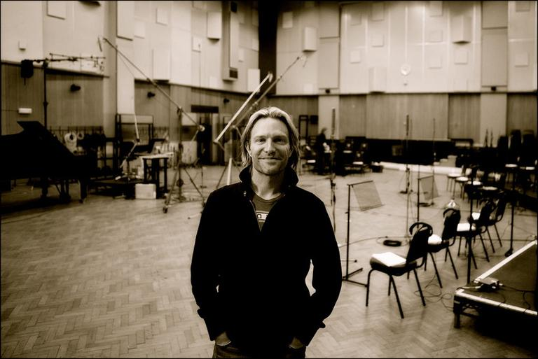 Eric Whitacre is pictured at Abbey Road's Studio One in March 2011, recording the choral parts for Pirates of the Caribbean IV. (ericwhitacre.com)