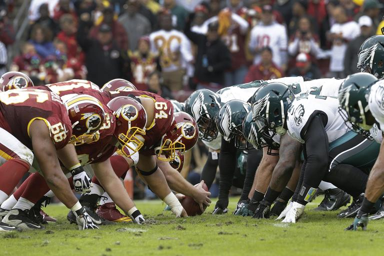 The Washington Redskins and Philadelphia Eagles lineup across the line of scrimmage during the second half of an NFL football game in Landover, Md., Sunday, Nov. 18, 2012. (Patrick Semansky/AP)