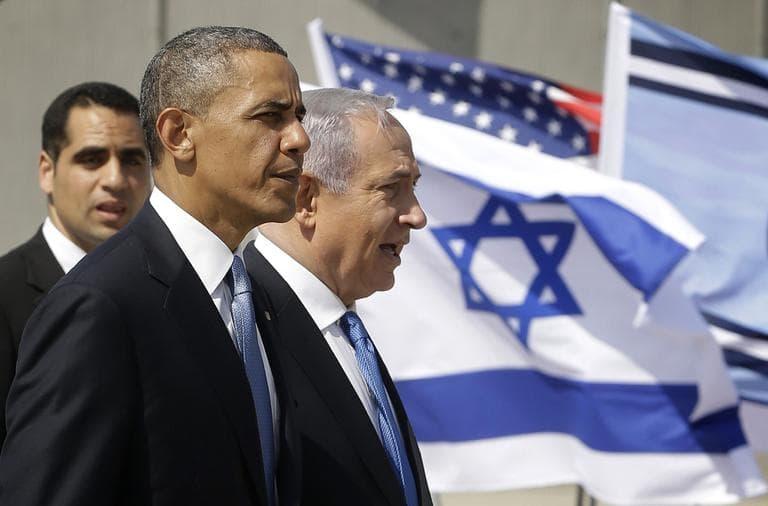 President Barack Obama and Israeli Prime Minister Benjamin Netanyahu tour the Iron Dome Battery defense system, at Ben Gurion International Airport in Tel Aviv, Israel, Wednesday, March 20, 2013. (Pablo Martinez Monsivais/AP)
