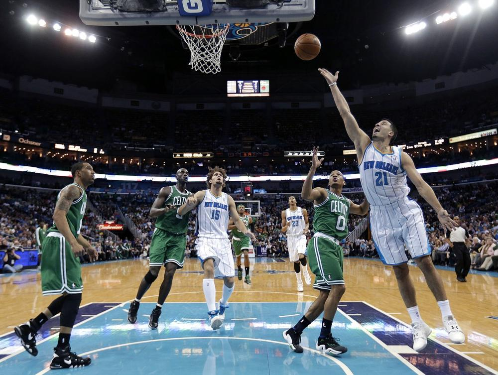 Hornets point guard Greivis Vasquez releases a shot in the first half. (AP)