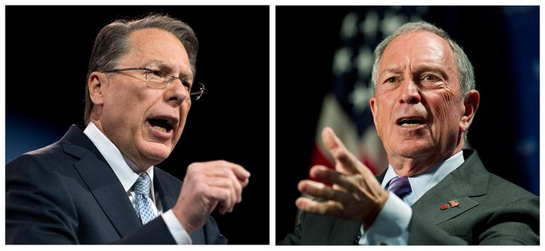 Two of the loudest voices in the gun debate — Wayne LaPierre, CEO of the National Rifle Association (left) and New York City Mayor Michael Bloomberg (right) — say it's up to voters now to make their position known to Congress. (Ron Sachs, Manuel Balce Ceneta/AP)