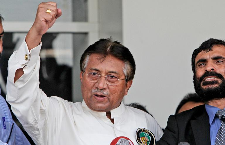 Former Pakistani President Pervez Musharraf returned to Pakistan on Sunday after more than four years in exile, seeking a possible political comeback in defiance of judicial probes and death threats from Taliban militants. (Shakil Adil/AP)