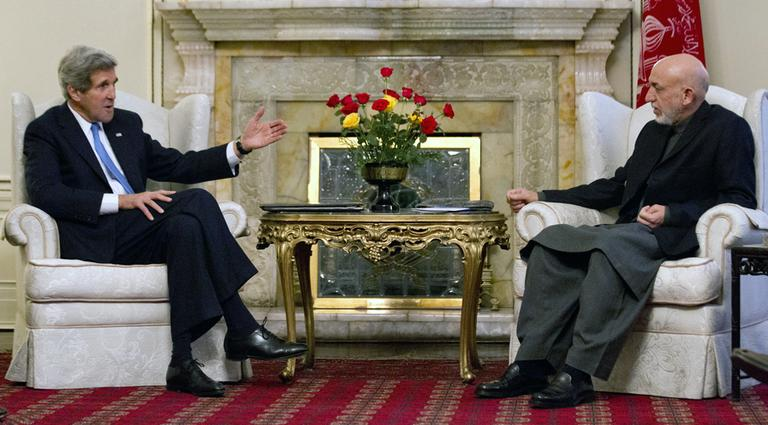 Secretary of State John Kerry meets with Afghan President Hamid Karzai at the Presidential Palace in Kabul. (Jason Reed/AP Pool)