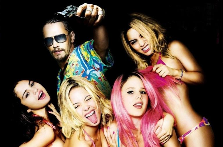 "A promotional image from the dark comedy ""Spring Breakers."""