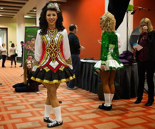 Maggie Grogan, 14, from Burlingame, CA waits for her photo to be taken in her dance costume. (JesseCosta/WBUR)