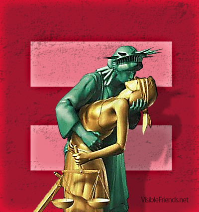 Lady Liberty and Lady Justice equals sign.