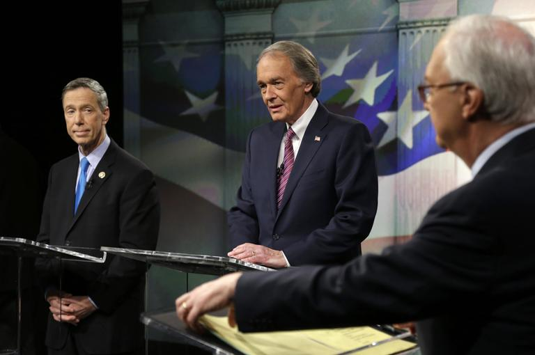 Democratic Senate hopefuls, Mass. U.S. Reps. Stephen Lynch, left, and Edward Markey, center, prepare for the debate Wednesday night. (Steven Senne/AP, Pool)