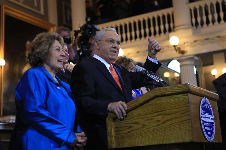 Menino announces that he won't seek re-election for an unprecedented sixth term at Faneuil Hall in Boston Thursday. (Jesse Costa/WBUR)