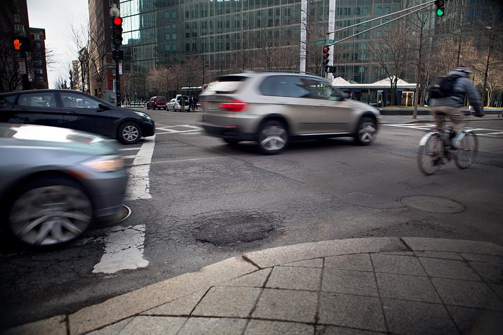 A fixed pothole on the corner of St. James and Clarendon streets in the Back Bay. (Jesse Costa/WBUR)