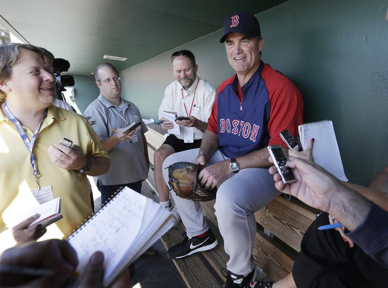 Boston Red Sox manager John Farrell talks to reporters on Monday in Sarasota, Fla. (Carlos Osorio/AP)