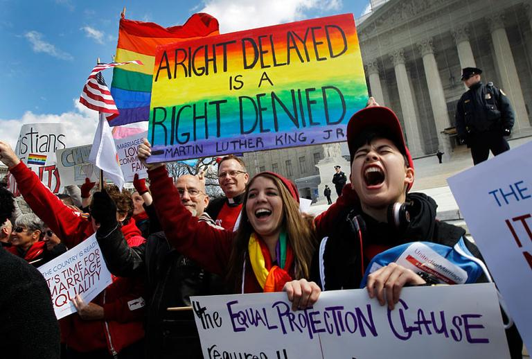 Demonstrators in front of the Supreme Court in Washington. March 27, 2013. (AP)