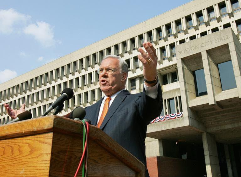 In 2009, Mayor Menino spoke on City Hall Plaza on his 5,846th day on the job, making him the longest-serving mayor in Boston's history. (Elise Amendola/AP)