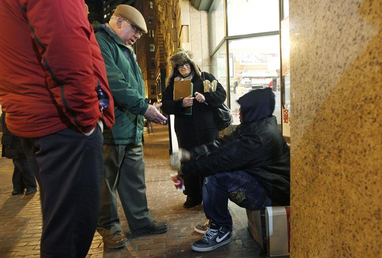 Menino helps with the city's annual homeless census on Dec. 12, 2011. (Charles Krupa/AP)