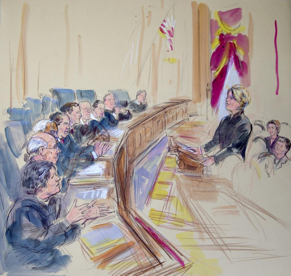 This artist rendering shows Roberta Kaplan, attorney for plaintiff Edith Windsor, addressing the Supreme Court in Washington, Wednesday, March 27, 2013, as the court heard arguments on the Defense of Marriage Act. (DOMA). Justices, from left are, Sonia Sotomayor, Stephen Breyer, Clarence Thomas, Antonin Scalia, Chief Justice John Roberts, and Justices Anthony Kennedy, Ruth Bader Ginsburg, Samuel Alito and Elena Kagan. (AP Photo/Dana Verkouteren)