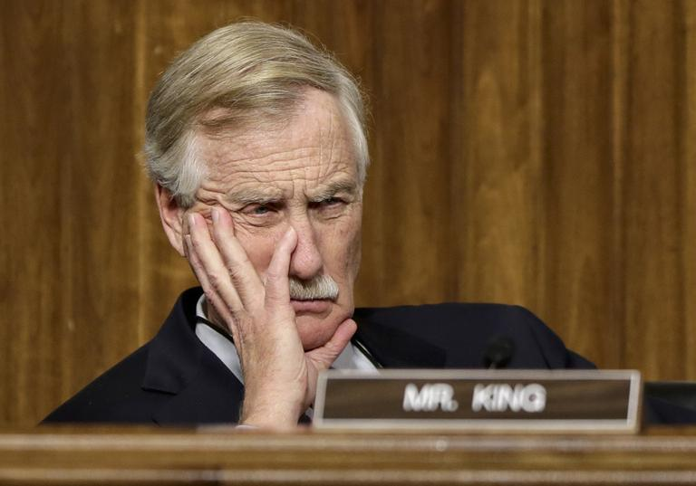Sen. Angus King, I-Maine, listens as Chuck Hagel, President Obama's choice for defense secretary, testifies before the Senate Armed Services Committee during his confirmation hearing on Jan. 31. (J. Scott Applewhite/AP)