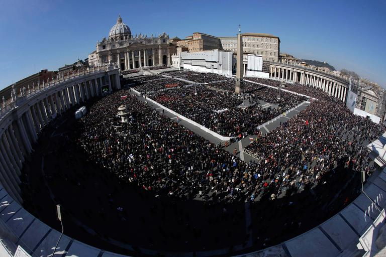 "A view of the crowd in St. Peter's Square during Pope Benedict XVI's last general audience in St. Peter's Square, at the Vatican, Wednesday, Feb. 27, 2013. Benedict XVI basked in an emotional sendoff Wednesday at his final general audience in St. Peter's Square, recalling moments of ""joy and light"" during his papacy but also times of great difficulty. He also thanked his flock for respecting his decision to retire. (AP Photo/Andrew Medichini)"