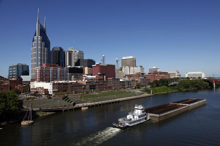 The Nashville, Tenn. downtown area and the Cumberland River are shown on Sept. 27, 2011. (AP)