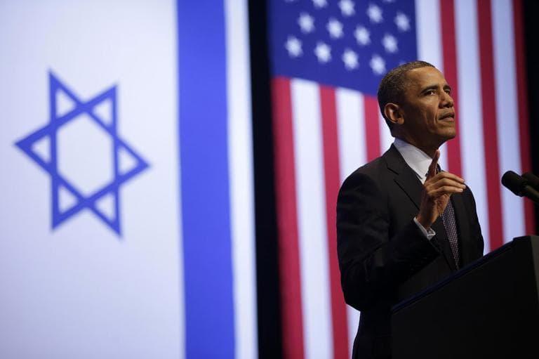 President Barack Obama gestures during his speech at the Jerusalem Convention Center in Jerusalem, Israel, Thursday, March 21, 2013, (AP)