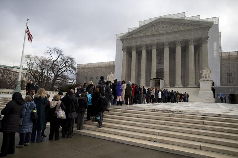 People wait in line outside the Supreme Court in Washington, Wednesday, Feb. 27,2013, to listen to oral arguments in the Shelby County, Ala., v. Holder voting rights case. (AP)