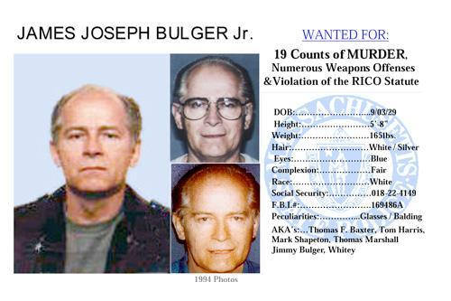 "James ""Whitey"" Bulger is accused of participating in 19 murders in the 1970s and '80s."