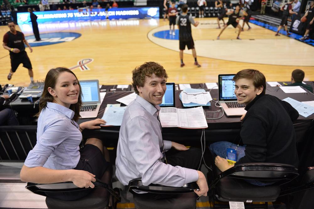 Members of The Crimson sports staff take in a practice at EnergySolutions Arena in Salt Lake City the day before the NCAA tournament tipped off. (Photo courtesy Gil Talbot)