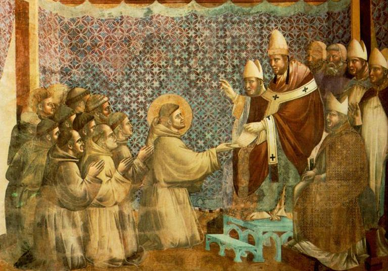Giotto di Bondone (1267-1337), Basilique Assise, Legend of St Francis, Confirmation of the Rule by Innocentius III.