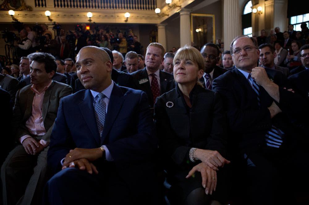 Gov. Deval Patrick, Attorney General Martha Coakley and U.S. Rep. Michael Capuano watch as Menino gives his address. (Jesse Costa/WBUR)