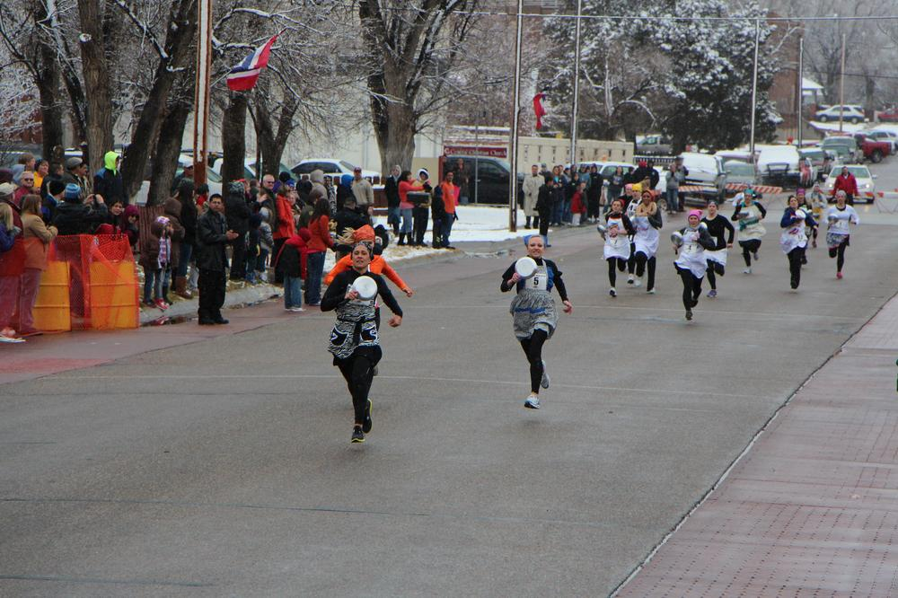 The scene in Liberal, Kan. during the annual Pancake Race. (Fletcher Powell)