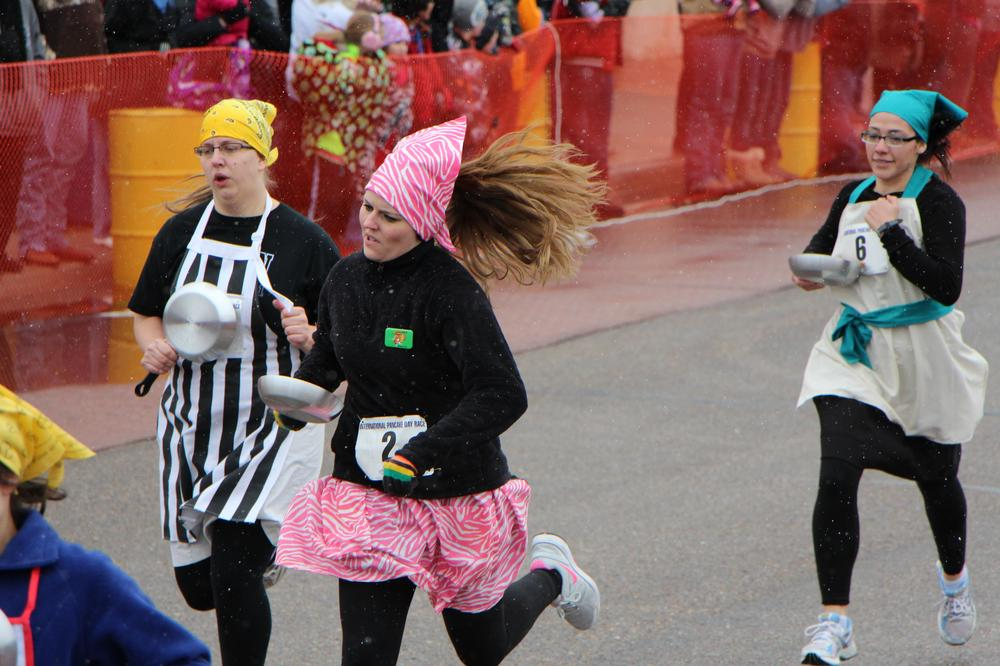 Racers compete in the annual Pancake Race in Liberal, Kan. (Fletcher Powell)