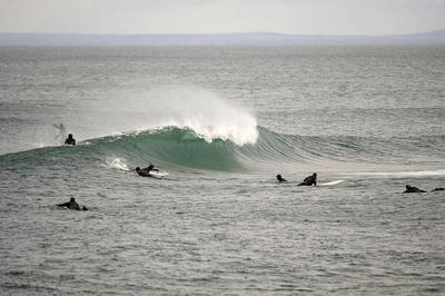 Surfers congregate at Stoney Point, considered the best surfing spot on the Great Lakes. (Bob Tema)
