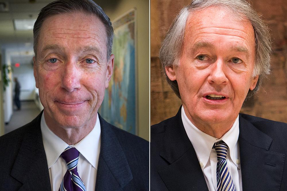 On the Democratic side, the WBUR poll finds Ed Markey, right, with a 35-24 percent lead over Stephen Lynch, though overall voters have a more favorable impression of Lynch. (WBUR file photos)