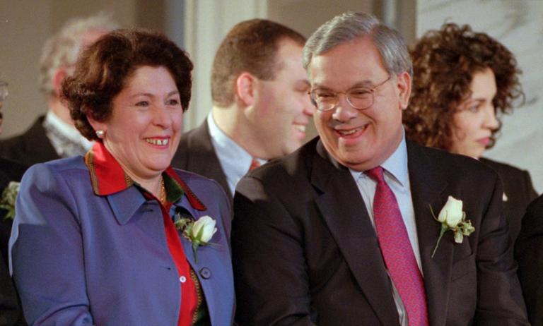 Boston Mayor Thomas Menino laughs with his wife Angela during swearing-in ceremonies on Jan. 5, 1998 at Faneuil Hall, to begin Menino's second-term as mayor of Boston. (Victoria Arocho/AP)
