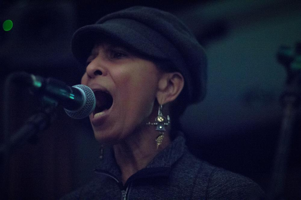 Nona Hendryx rehearses at Berklee on Sunday. (Joe Spurr/WBUR)