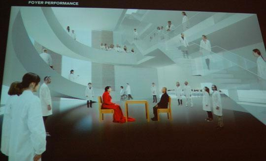 A rendering of the planned Marina Abramović Institute for the Preservation of Performing Art in Hudson, New York. (Greg Cook)
