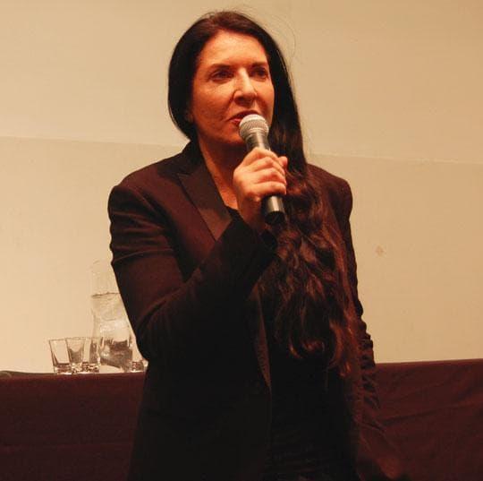 Marina Abramović speaks at Harvard. (Greg Cook)