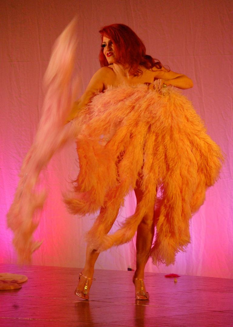 """Burlesque Handbook"" author Jo Weldon demonstrates how it's done. (Greg Cook)"