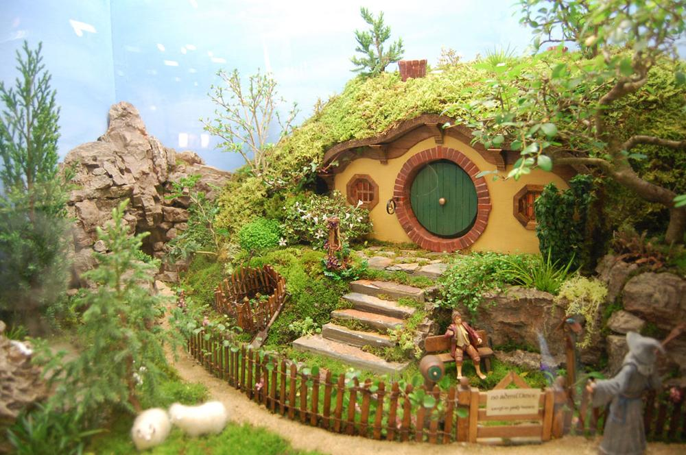 "Mary Chmielecki and Kim Sestak of the Garden Club of Mansfield produced this live miniature garden titled ""Gandalf Stirs Seeds of Change in Bilbo's Unexpected Journey."" (Greg Cook)"
