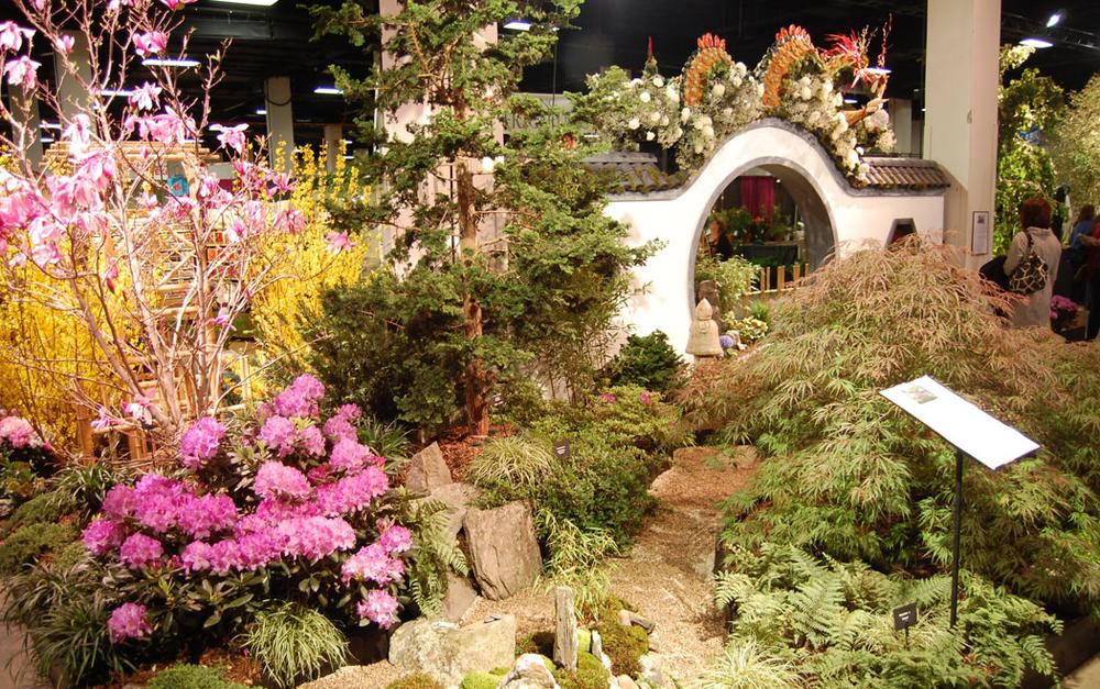 "Newport Flower Show's ""Jade: Eastern Obsessions"" highlights Asian style with low maintenance by eliminating lawn and focusing on perennials. (Greg Cook)"