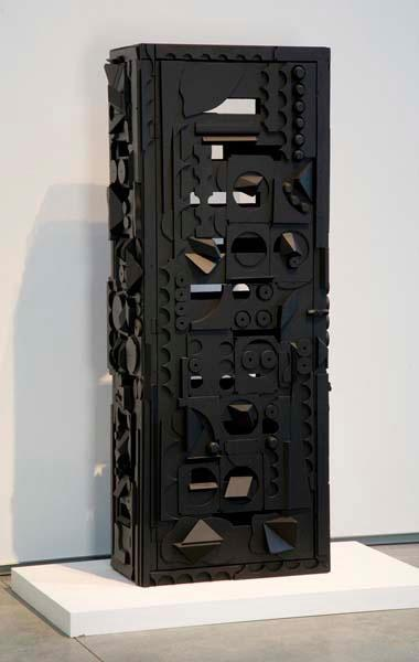 "Louise Nevelson's ""Dream House V,"" 1972, in bright light. (Courtesy of Davis Museum)"