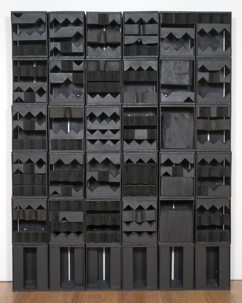 "Louise Nevelson's ""Luminous Zag,"" 1971, in bright light. (Courtesy of Davis Museum)"