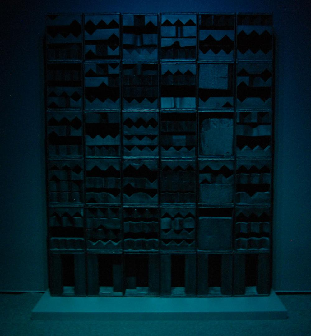 "Louise Nevelson's ""Luminous Zag,"" 1971, in blue light at the Davis Museum. (Greg Cook)"