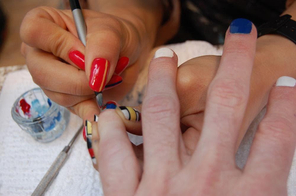 Victoria Shen recreates a Hans Hofmann painting with nail polish. (Greg Cook)