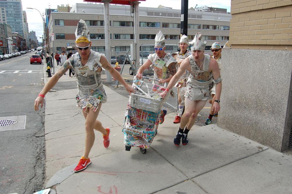 Boston Urban Iditarod racers on Brookline Avenue. (Greg Cook)