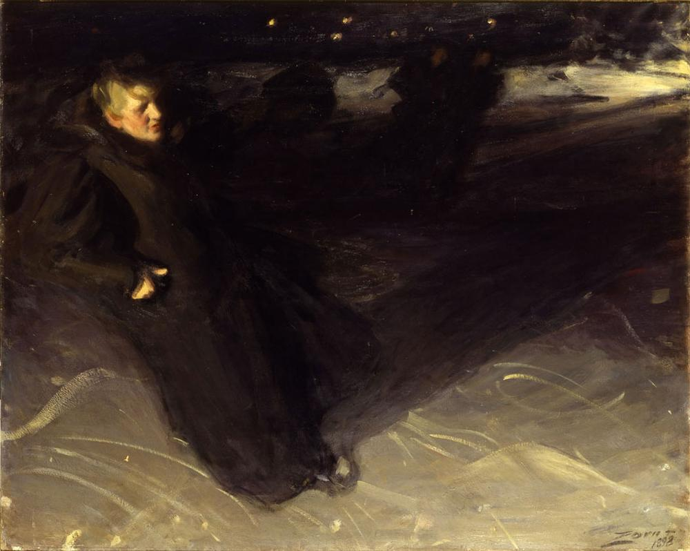 "Anders Zorn's 1898 painting ""The Ice Skater."" (Courtesy Gardner Museum)"