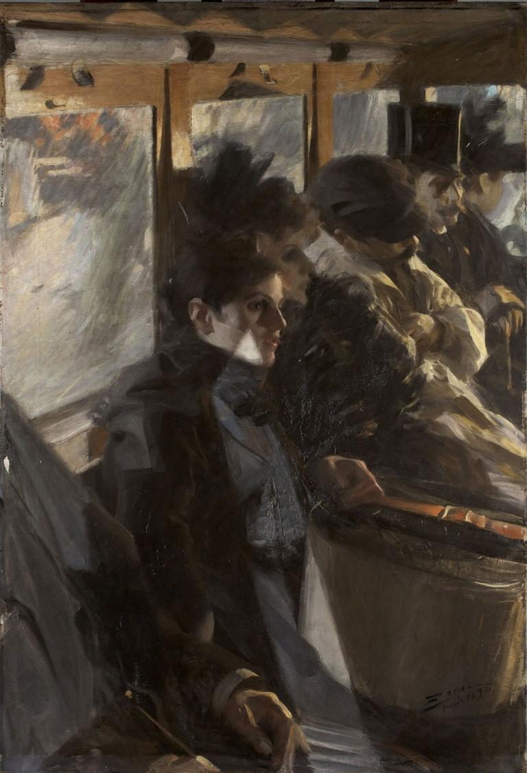 "The second version of Anders Zorn's 1892 Paris bus painting, ""Omnibus II."" (Courtesy Gardner Museum)"