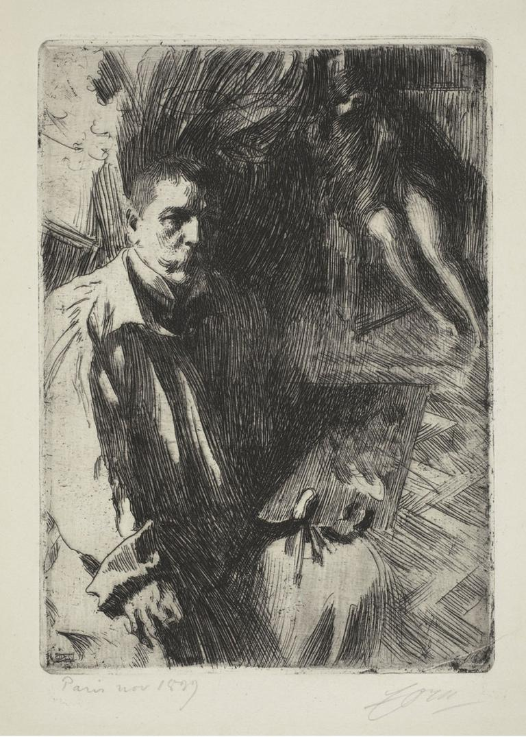 "Anders Zorn's 1899 etching ""Self-Portrait with Model II."" (Courtesy Gardner Museum)"