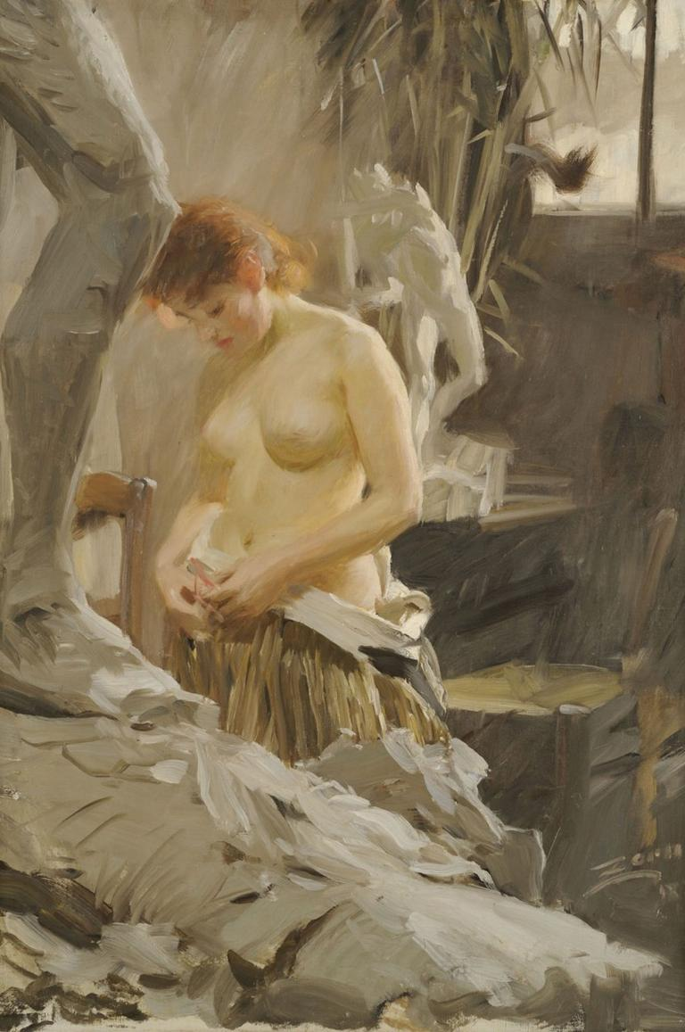 "Anders Zorn's 1889 painting ""In Wikstrom's Studio.""(Courtesy Gardner Museum)"