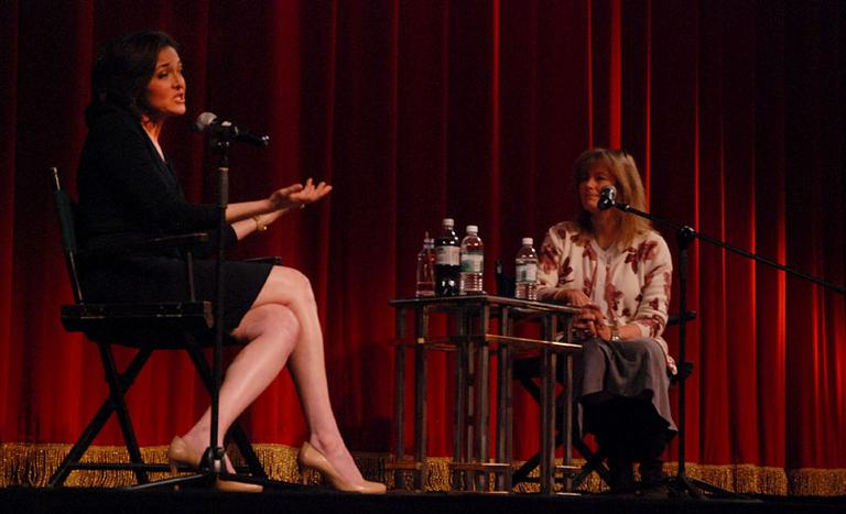 "Sheryl Sandberg joins Robin Young at the Coolidge Corner Theatre for a discussion of her book ""Lean In: Women, Work, and the Will to Lead."" (Robin Lubbock/WBUR)"