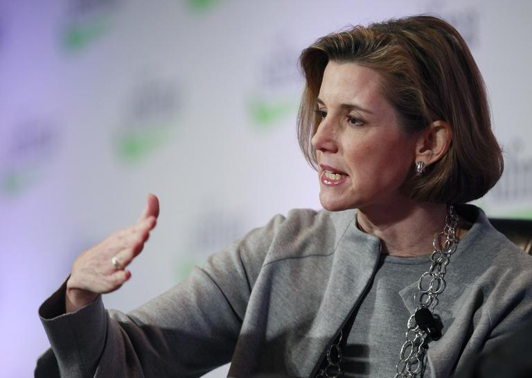 Sallie Krawcheck, former President of Global Wealth & Investment Management at the Bank of America, speaks at the Securities Industry and Financial Markets Association annual meeting, Monday, Nov. 7, 2011 in New York. (AP/Mark Lennihan)