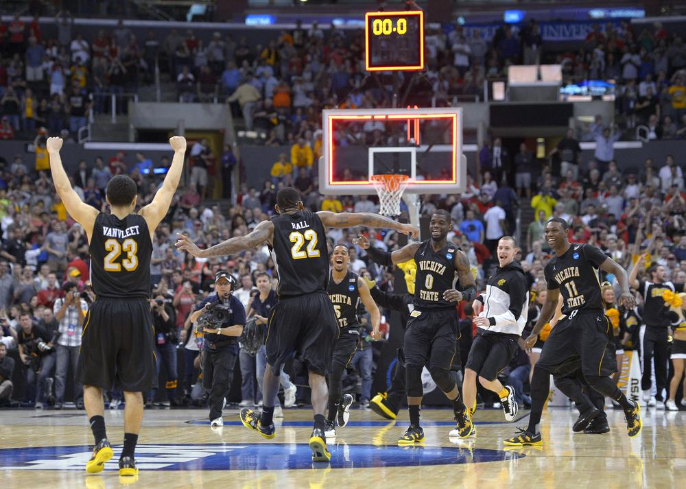 Now two wins away from an NCAA title, ninth-seeded Wichita State takes on No. 1 Louisville on Saturday. (Mark J. Terrill/AP)